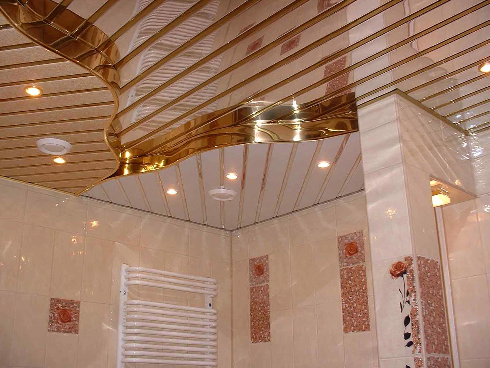 Пластиковый подвесной потолок в ванной комнате